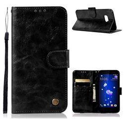 Luxury Retro Leather Wallet Case for HTC U11 - Black