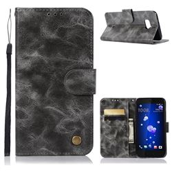 Luxury Retro Leather Wallet Case for HTC U11 - Gray