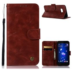 Luxury Retro Leather Wallet Case for HTC U11 - Wine Red