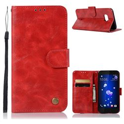 Luxury Retro Leather Wallet Case for HTC U11 - Red