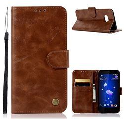 Luxury Retro Leather Wallet Case for HTC U11 - Brown