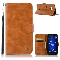 Luxury Retro Leather Wallet Case for HTC U11 - Golden