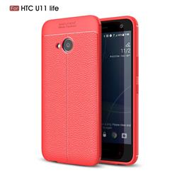Luxury Auto Focus Litchi Texture Silicone TPU Back Cover for HTC U11 Life - Red