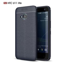 Luxury Auto Focus Litchi Texture Silicone TPU Back Cover for HTC U11 Life - Dark Blue