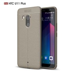 Luxury Auto Focus Litchi Texture Silicone TPU Back Cover for HTC U11+(U11 Plus) - Gray