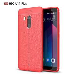 Luxury Auto Focus Litchi Texture Silicone TPU Back Cover for HTC U11+(U11 Plus) - Red