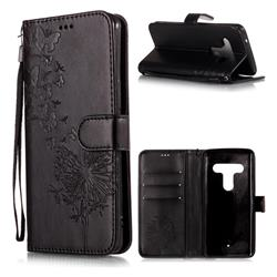 Intricate Embossing Dandelion Butterfly Leather Wallet Case for HTC U12+ - Black