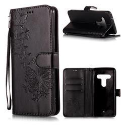 Intricate Embossing Dandelion Butterfly Leather Wallet Case for HTC U12+ - Black