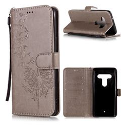 Intricate Embossing Dandelion Butterfly Leather Wallet Case for HTC U12+ - Gray