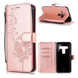 Intricate Embossing Dandelion Butterfly Leather Wallet Case for HTC U12+ - Rose Gold