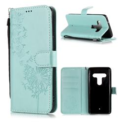 Intricate Embossing Dandelion Butterfly Leather Wallet Case for HTC U12+ - Green