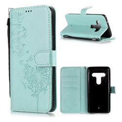Intricate Embossing Dandelion Butterfly Leather Wallet Case for HTC U12+ - Green