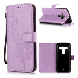 Intricate Embossing Dandelion Butterfly Leather Wallet Case for HTC U12+ - Purple