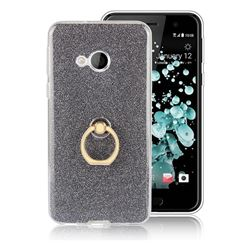 Luxury Soft TPU Glitter Back Ring Cover with 360 Rotate Finger Holder Buckle for HTC U Play / HTC Alpine - Black