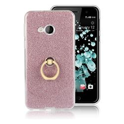 Luxury Soft TPU Glitter Back Ring Cover with 360 Rotate Finger Holder Buckle for HTC U Play / HTC Alpine - Pink