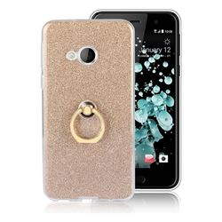 Luxury Soft TPU Glitter Back Ring Cover with 360 Rotate Finger Holder Buckle for HTC U Play / HTC Alpine - Golden