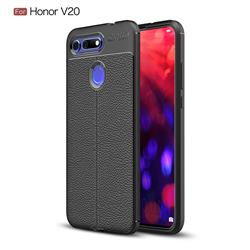 Luxury Auto Focus Litchi Texture Silicone TPU Back Cover for Huawei Honor View 20 / V20 - Black