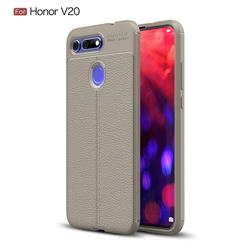 Luxury Auto Focus Litchi Texture Silicone TPU Back Cover for Huawei Honor View 20 / V20 - Gray