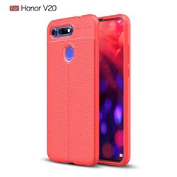 Luxury Auto Focus Litchi Texture Silicone TPU Back Cover for Huawei Honor View 20 / V20 - Red