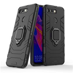 Black Panther Armor Metal Ring Grip Shockproof Dual Layer Rugged Hard Cover for Huawei Honor View 20 / V20 - Black