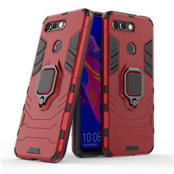 Black Panther Armor Metal Ring Grip Shockproof Dual Layer Rugged Hard Cover for Huawei Honor View 20 / V20 - Red