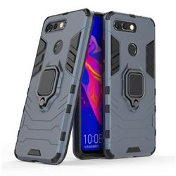 Black Panther Armor Metal Ring Grip Shockproof Dual Layer Rugged Hard Cover for Huawei Honor View 20 / V20 - Blue