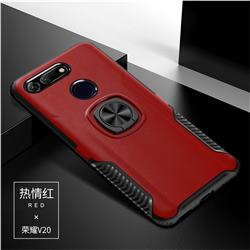 Knight Armor Anti Drop PC + Silicone Invisible Ring Holder Phone Cover for Huawei Honor View 20 / V20 - Red