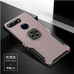 Knight Armor Anti Drop PC + Silicone Invisible Ring Holder Phone Cover for Huawei Honor View 20 / V20 - Rose Gold
