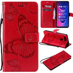 Embossing 3D Butterfly Leather Wallet Case for Huawei Honor View 20 / V20 - Red