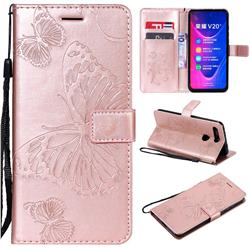 Embossing 3D Butterfly Leather Wallet Case for Huawei Honor View 20 / V20 - Rose Gold