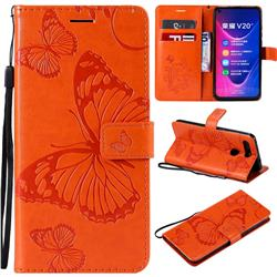 Embossing 3D Butterfly Leather Wallet Case for Huawei Honor View 20 / V20 - Orange