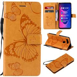 Embossing 3D Butterfly Leather Wallet Case for Huawei Honor View 20 / V20 - Yellow