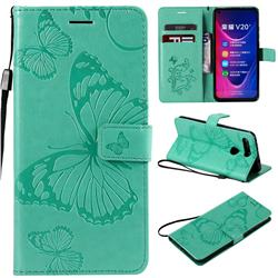 Embossing 3D Butterfly Leather Wallet Case for Huawei Honor View 20 / V20 - Green
