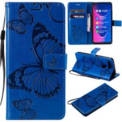 Embossing 3D Butterfly Leather Wallet Case for Huawei Honor View 20 / V20 - Blue