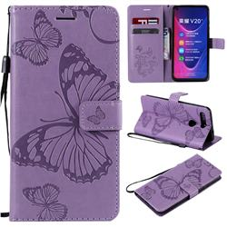 Embossing 3D Butterfly Leather Wallet Case for Huawei Honor View 20 / V20 - Purple