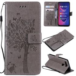 Embossing Butterfly Tree Leather Wallet Case for Huawei Honor View 20 / V20 - Grey