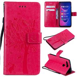 Embossing Butterfly Tree Leather Wallet Case for Huawei Honor View 20 / V20 - Rose