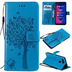Embossing Butterfly Tree Leather Wallet Case for Huawei Honor View 20 / V20 - Blue