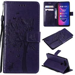 Embossing Butterfly Tree Leather Wallet Case for Huawei Honor View 20 / V20 - Purple