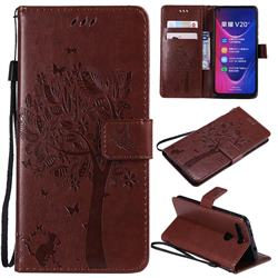 Embossing Butterfly Tree Leather Wallet Case for Huawei Honor View 20 / V20 - Coffee