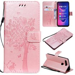 Embossing Butterfly Tree Leather Wallet Case for Huawei Honor View 20 / V20 - Rose Pink