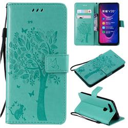 Embossing Butterfly Tree Leather Wallet Case for Huawei Honor View 20 / V20 - Cyan