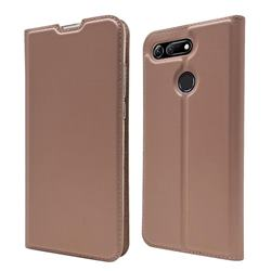 Ultra Slim Card Magnetic Automatic Suction Leather Wallet Case for Huawei Honor View 20 / V20 - Rose Gold