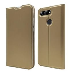 Ultra Slim Card Magnetic Automatic Suction Leather Wallet Case for Huawei Honor View 20 / V20 - Champagne