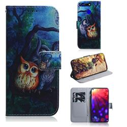 Oil Painting Owl PU Leather Wallet Case for Huawei Honor View 20 / V20