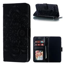 Intricate Embossing Datura Solar Leather Wallet Case for Huawei Honor View 20 / V20 - Black