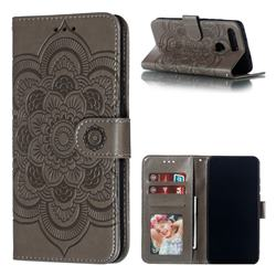Intricate Embossing Datura Solar Leather Wallet Case for Huawei Honor View 20 / V20 - Gray