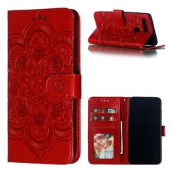 Intricate Embossing Datura Solar Leather Wallet Case for Huawei Honor View 20 / V20 - Red