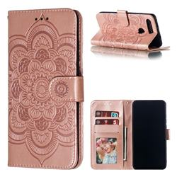 Intricate Embossing Datura Solar Leather Wallet Case for Huawei Honor View 20 / V20 - Rose Gold