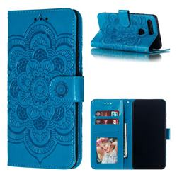 Intricate Embossing Datura Solar Leather Wallet Case for Huawei Honor View 20 / V20 - Blue